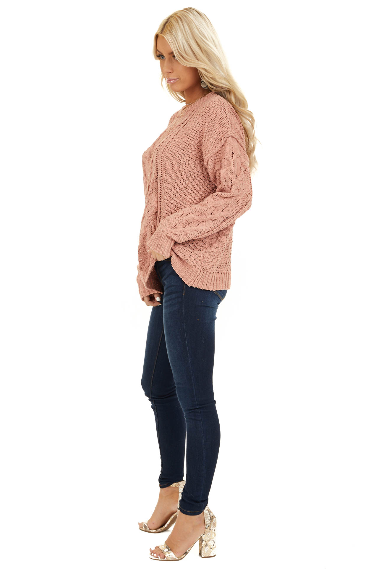 Apricot Chunky Cable Knit Chenille Long Sleeve Sweater side full body