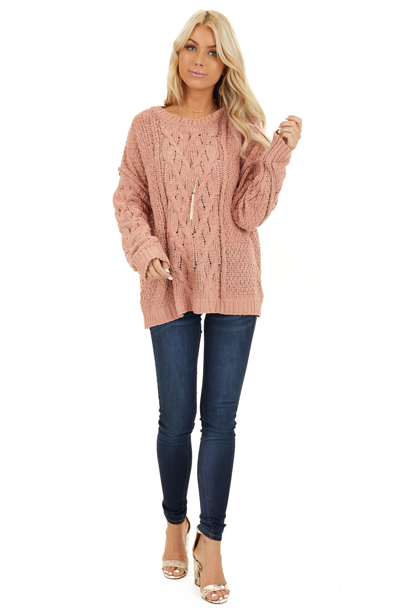 Apricot Chunky Cable Knit Chenille Long Sleeve Sweater front full body