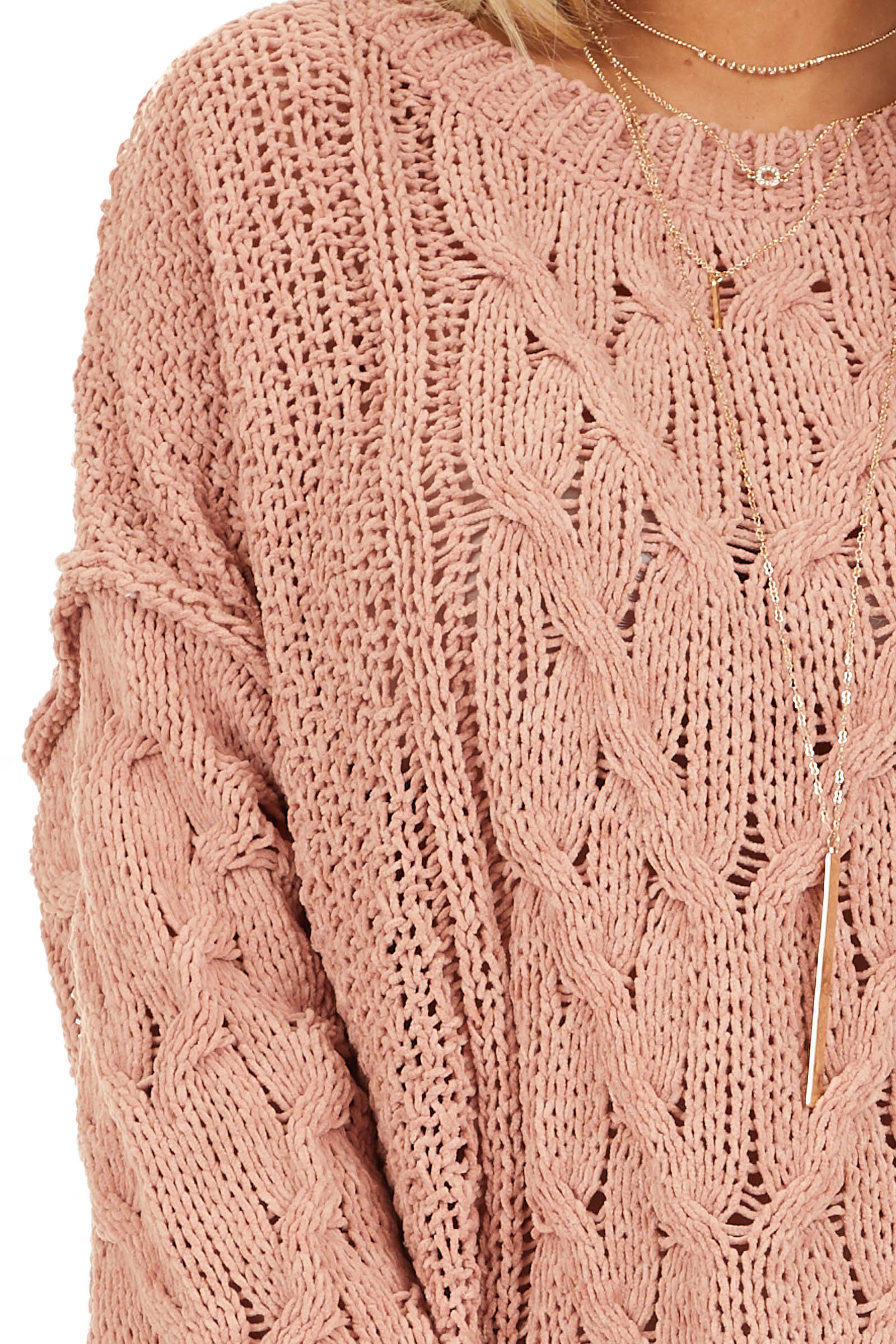 Apricot Chunky Cable Knit Chenille Long Sleeve Sweater detail
