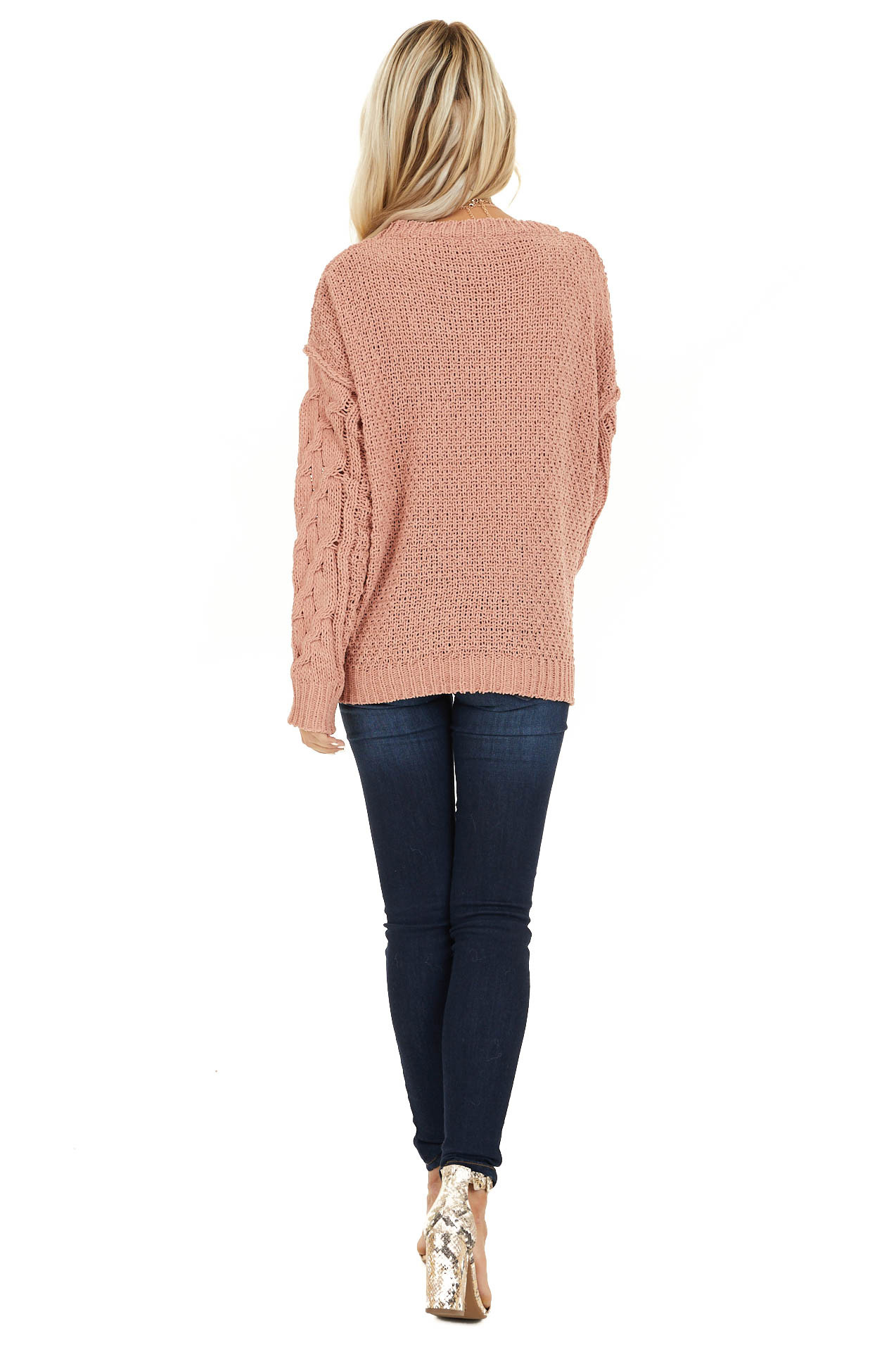 Apricot Chunky Cable Knit Chenille Long Sleeve Sweater back full body