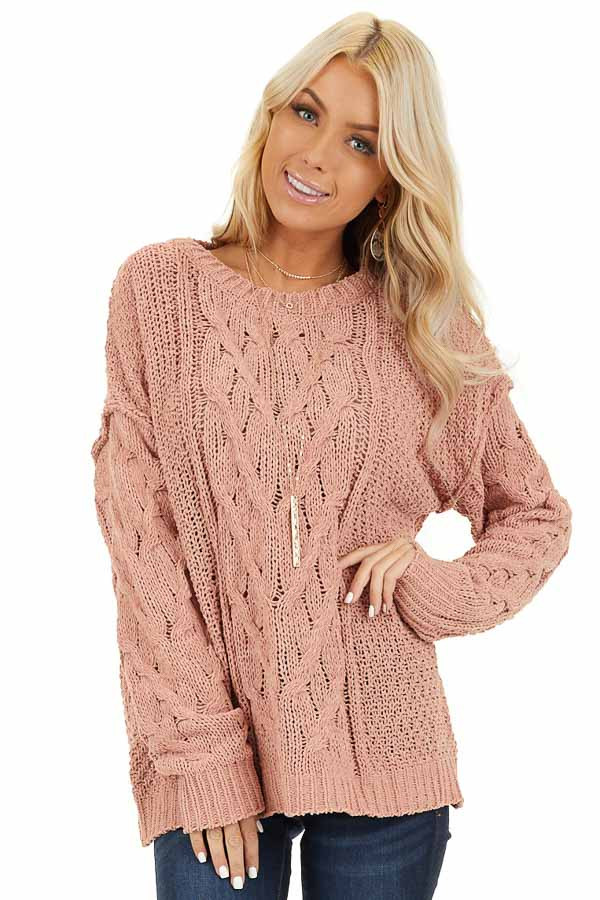 Apricot Chunky Cable Knit Chenille Long Sleeve Sweater front close up