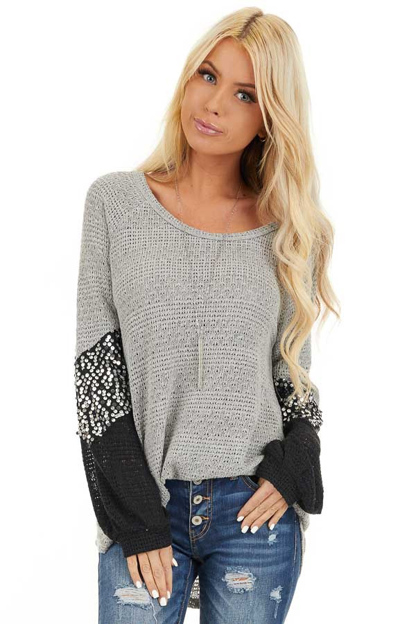 Heather Grey Textured Knit Top with Black Sequined Sleeves front close up