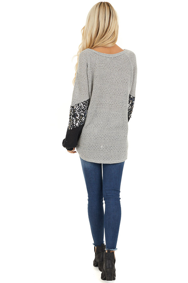 Heather Grey Textured Knit Top with Black Sequined Sleeves back full body
