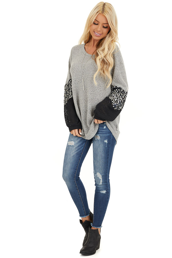 Heather Grey Textured Knit Top with Black Sequined Sleeves front full body