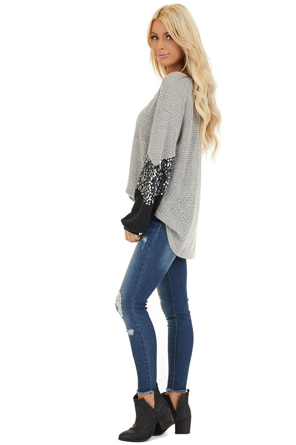 Heather Grey Textured Knit Top with Black Sequined Sleeves side full body