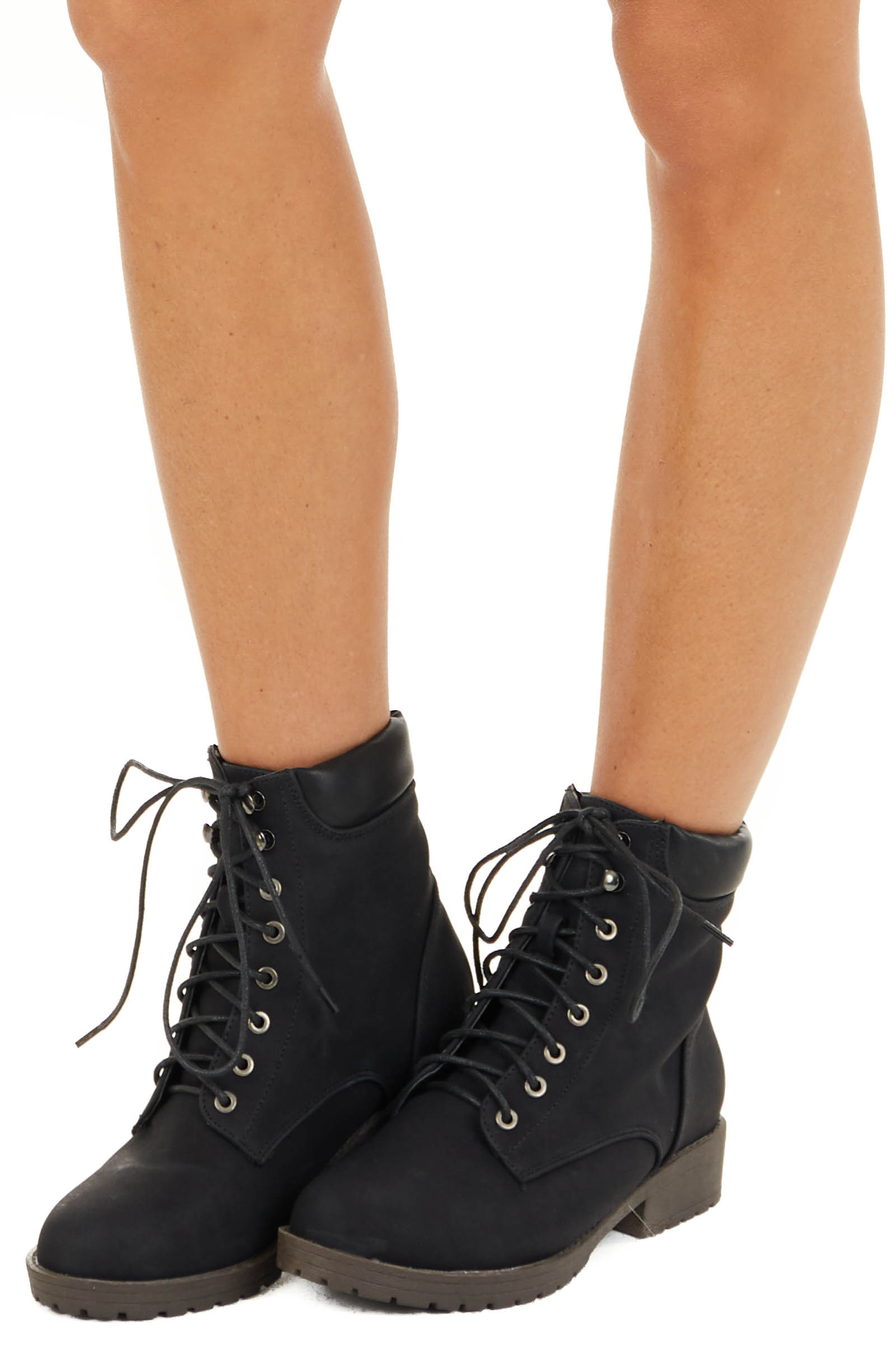 Black Heeled Combat Boots with Lace Up Front side view