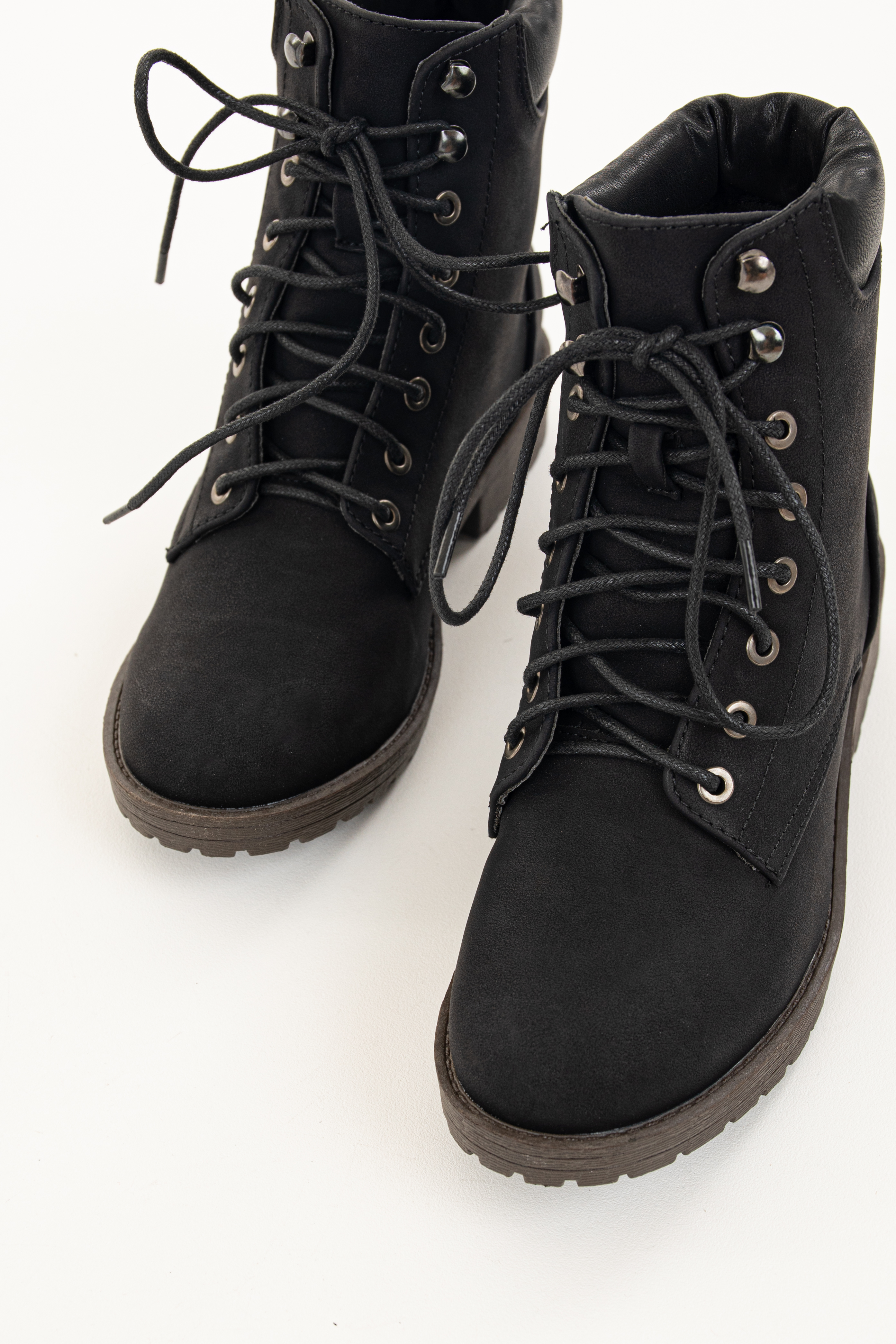 Black Heeled Combat Boots with Lace Up