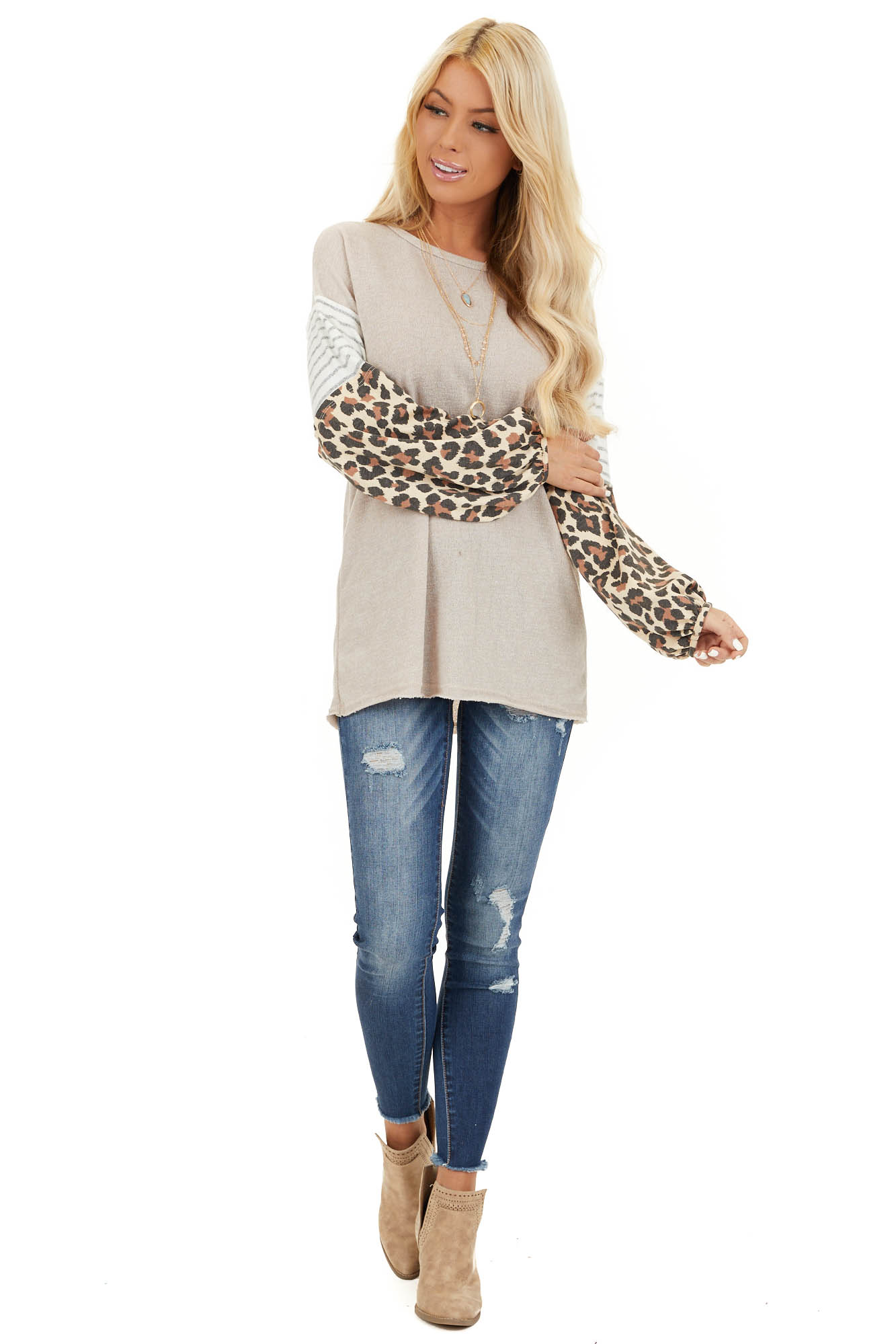 Beige Color Block Top with Leopard Print and Striped Sleeves front full body
