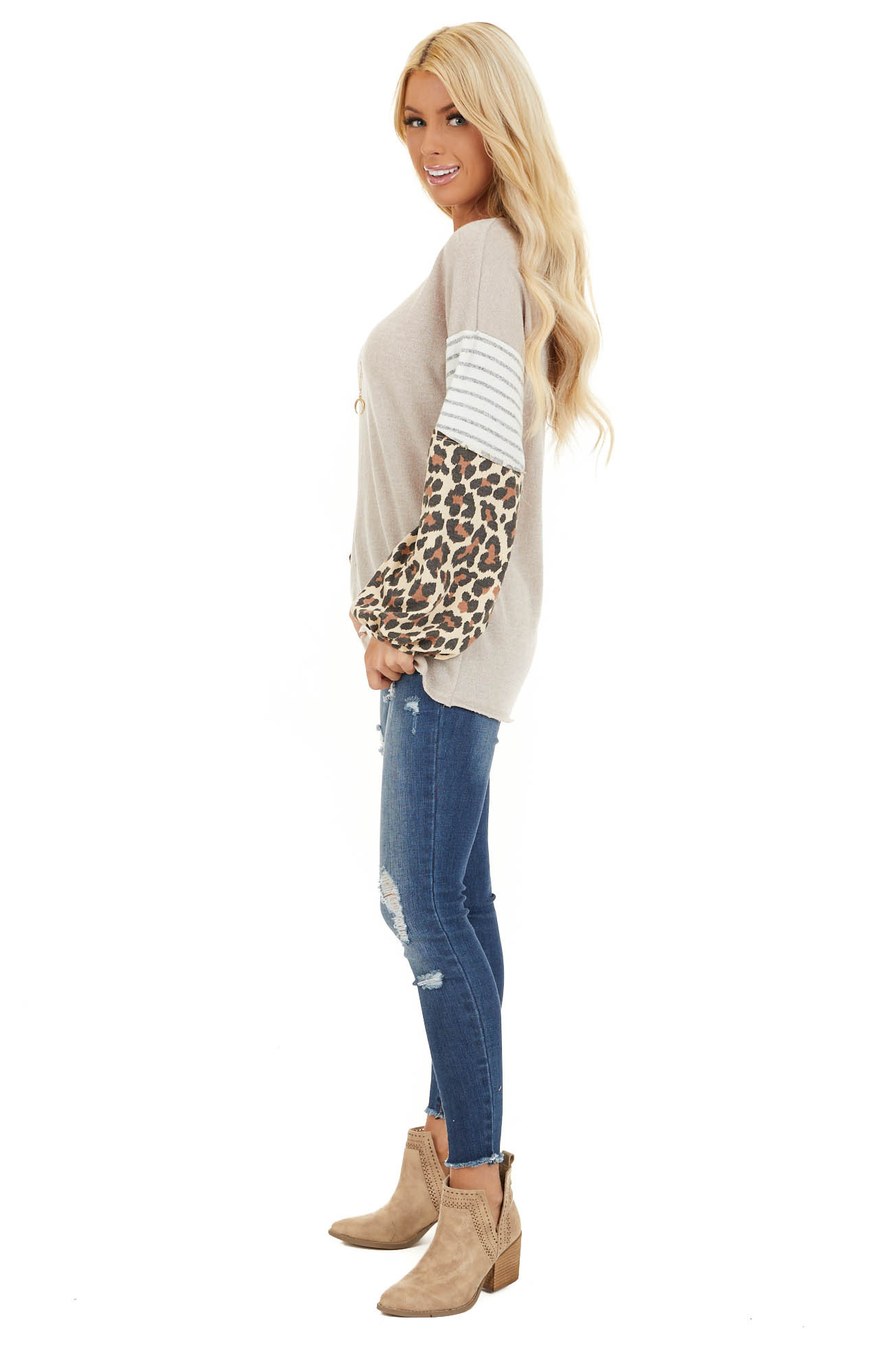 Beige Color Block Top with Leopard Print and Striped Sleeves side full body