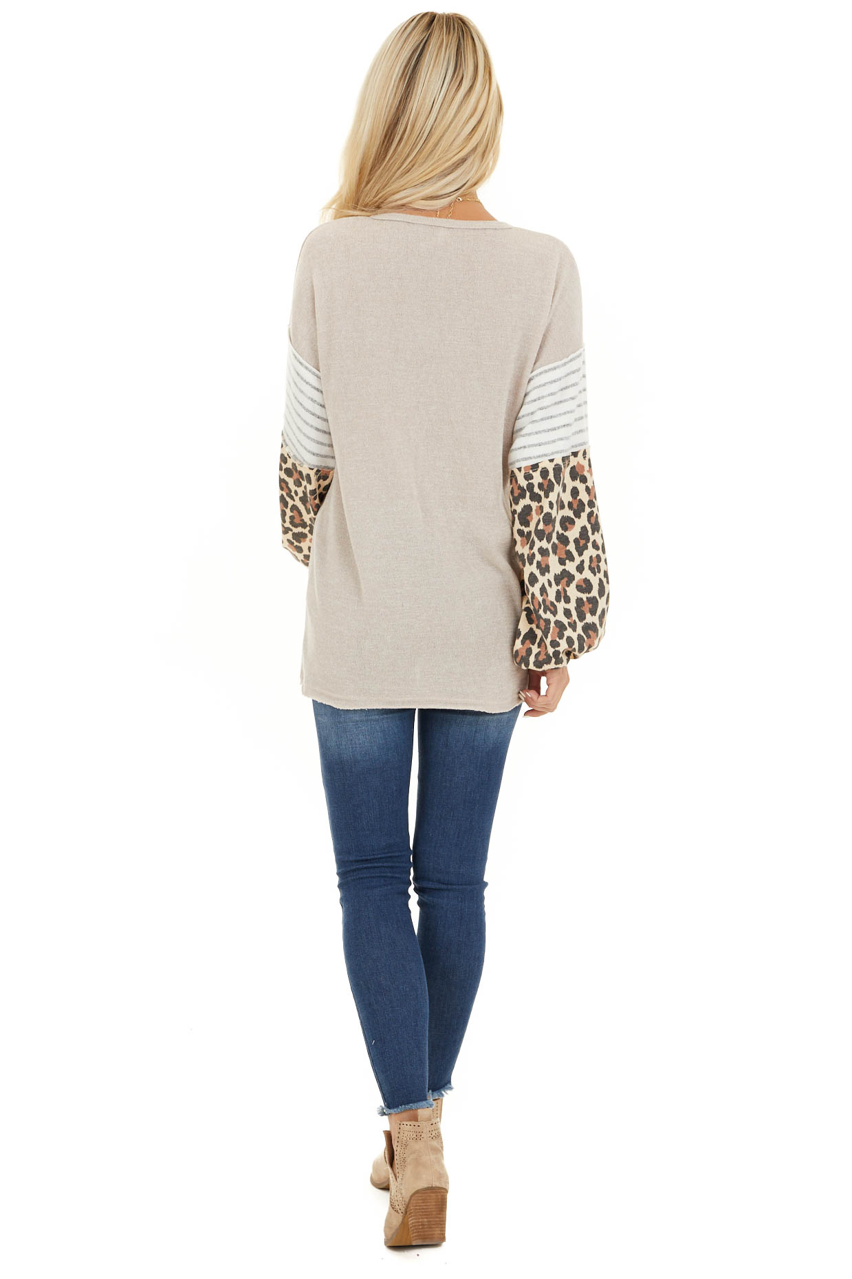 Beige Color Block Top with Leopard Print and Striped Sleeves back full body