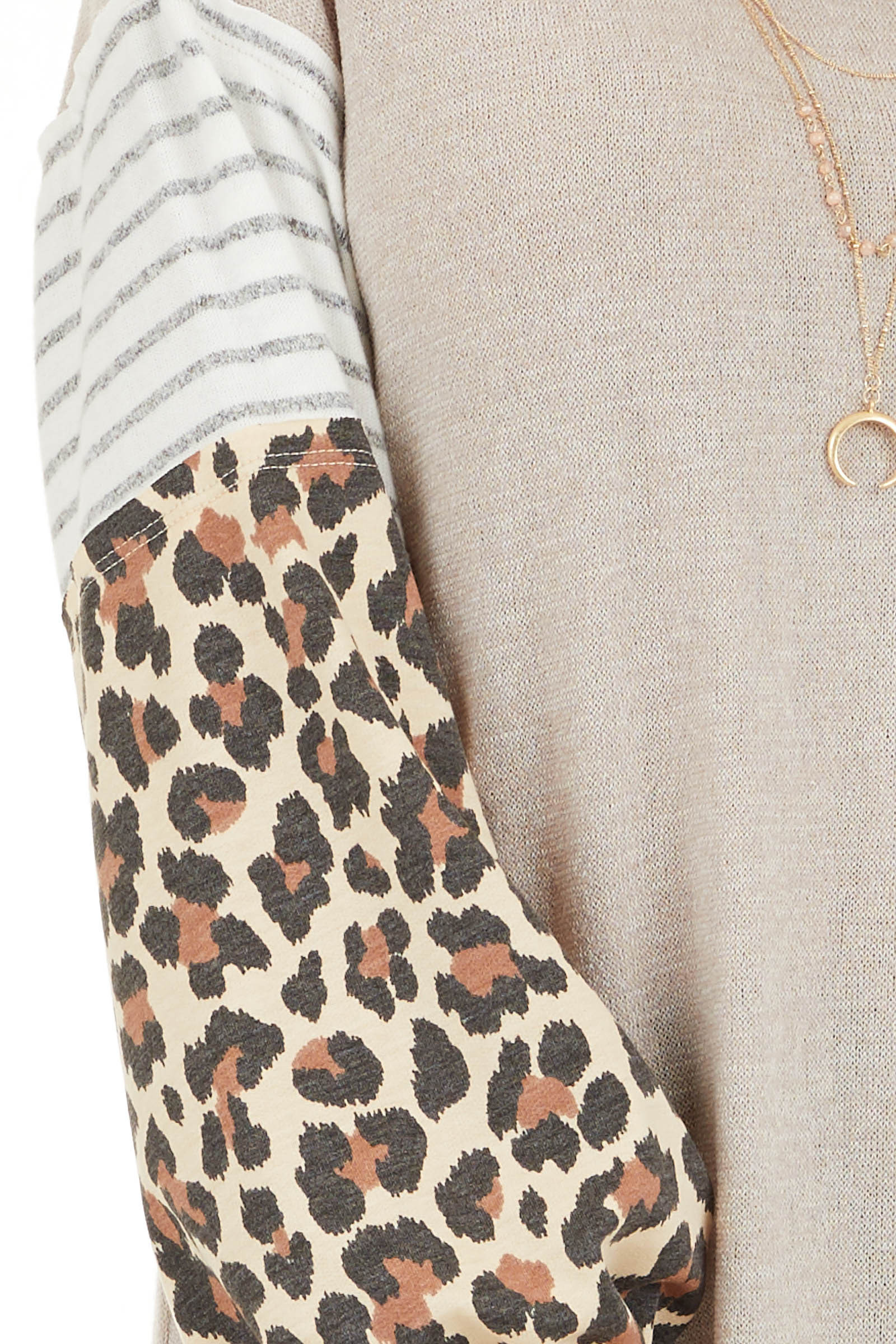 Beige Color Block Top with Leopard Print and Striped Sleeves detail