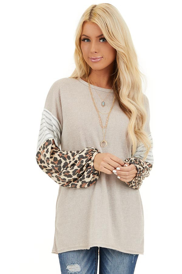Beige Color Block Top with Leopard Print and Striped Sleeves front close up