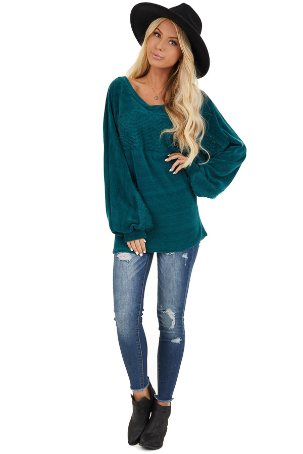 Pine Green V Neckline Knit Top with Textured Contrast front full body