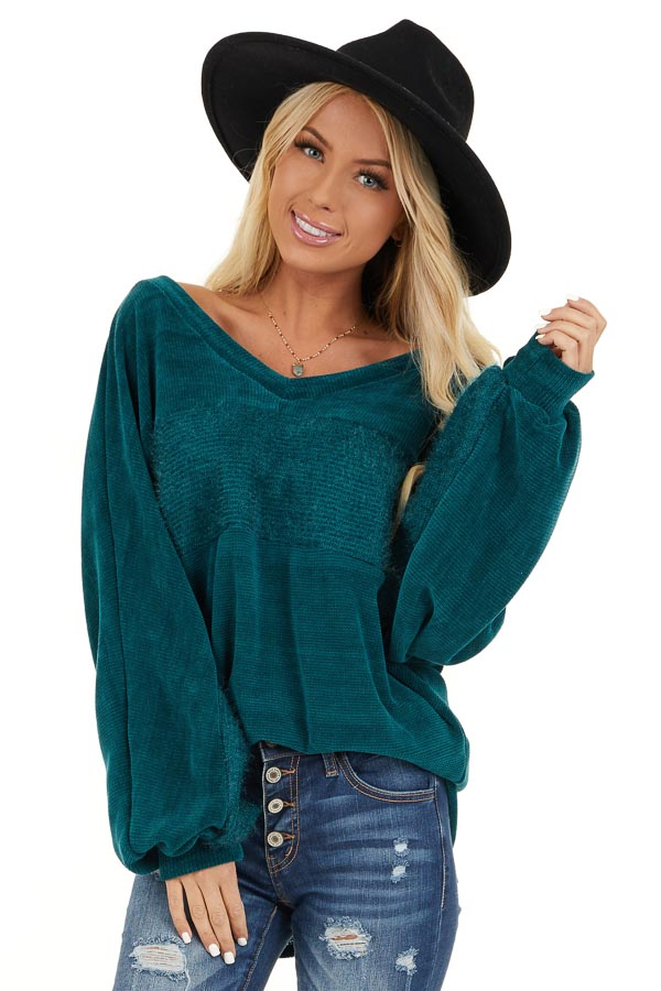 Pine Green V Neckline Knit Top with Textured Contrast front close up