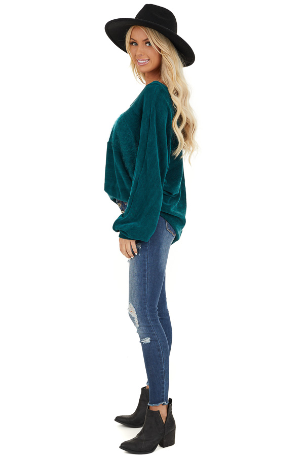 Pine Green V Neckline Knit Top with Textured Contrast side full body