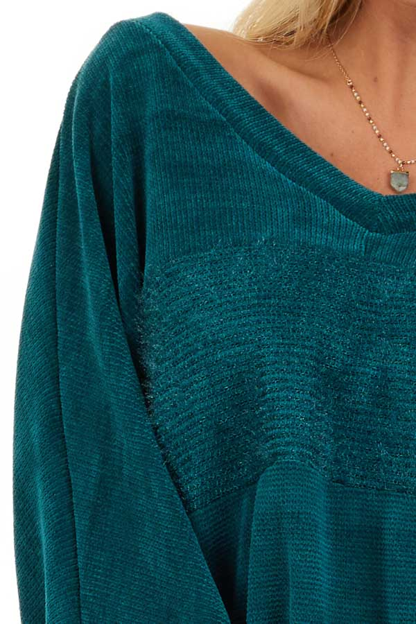 Pine Green V Neckline Knit Top with Textured Contrast detail