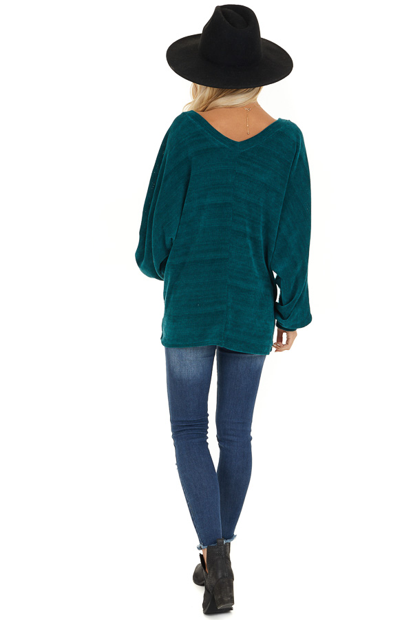 Pine Green V Neckline Knit Top with Textured Contrast back full body