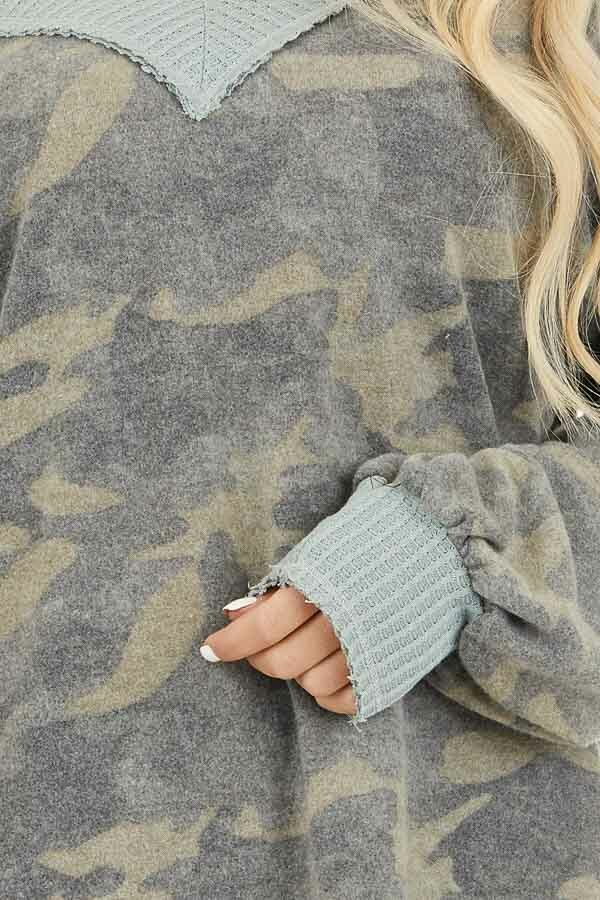 Faded Grey Camo Long Sleeve Top with Waffle Knit Contrast detail