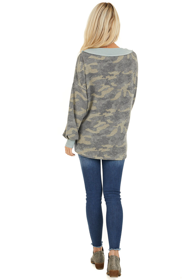 Faded Grey Camo Long Sleeve Top with Waffle Knit Contrast back full body