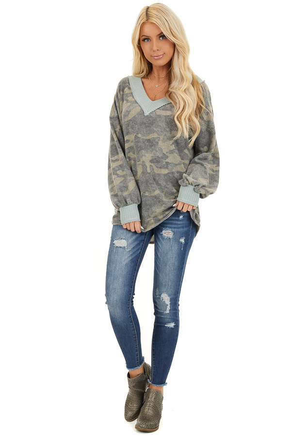 Faded Grey Camo Long Sleeve Top with Waffle Knit Contrast front full body