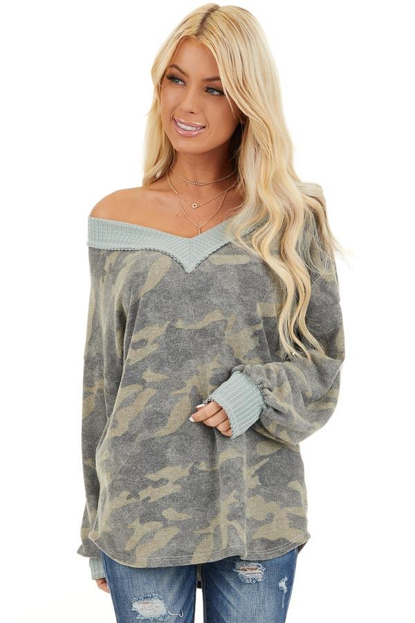 Faded Grey Camo Long Sleeve Top with Waffle Knit Contrast front close up