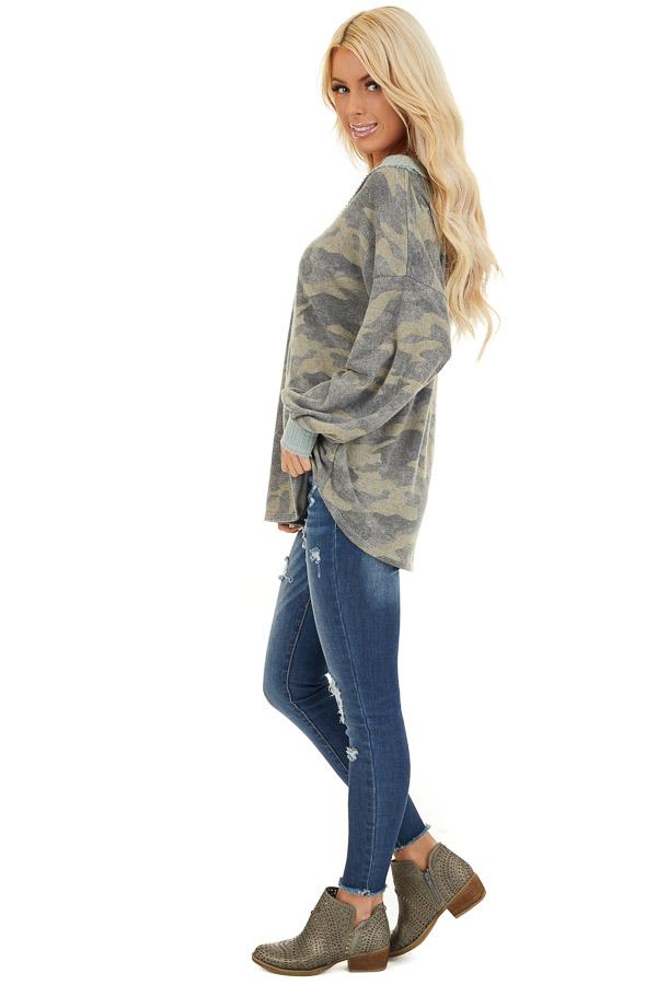 Faded Grey Camo Long Sleeve Top with Waffle Knit Contrast side full body
