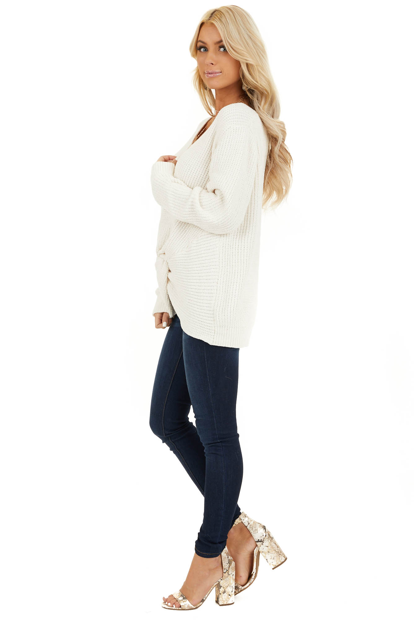 Ivory Chenille Pullover Sweater with Front Twist Detail side full body