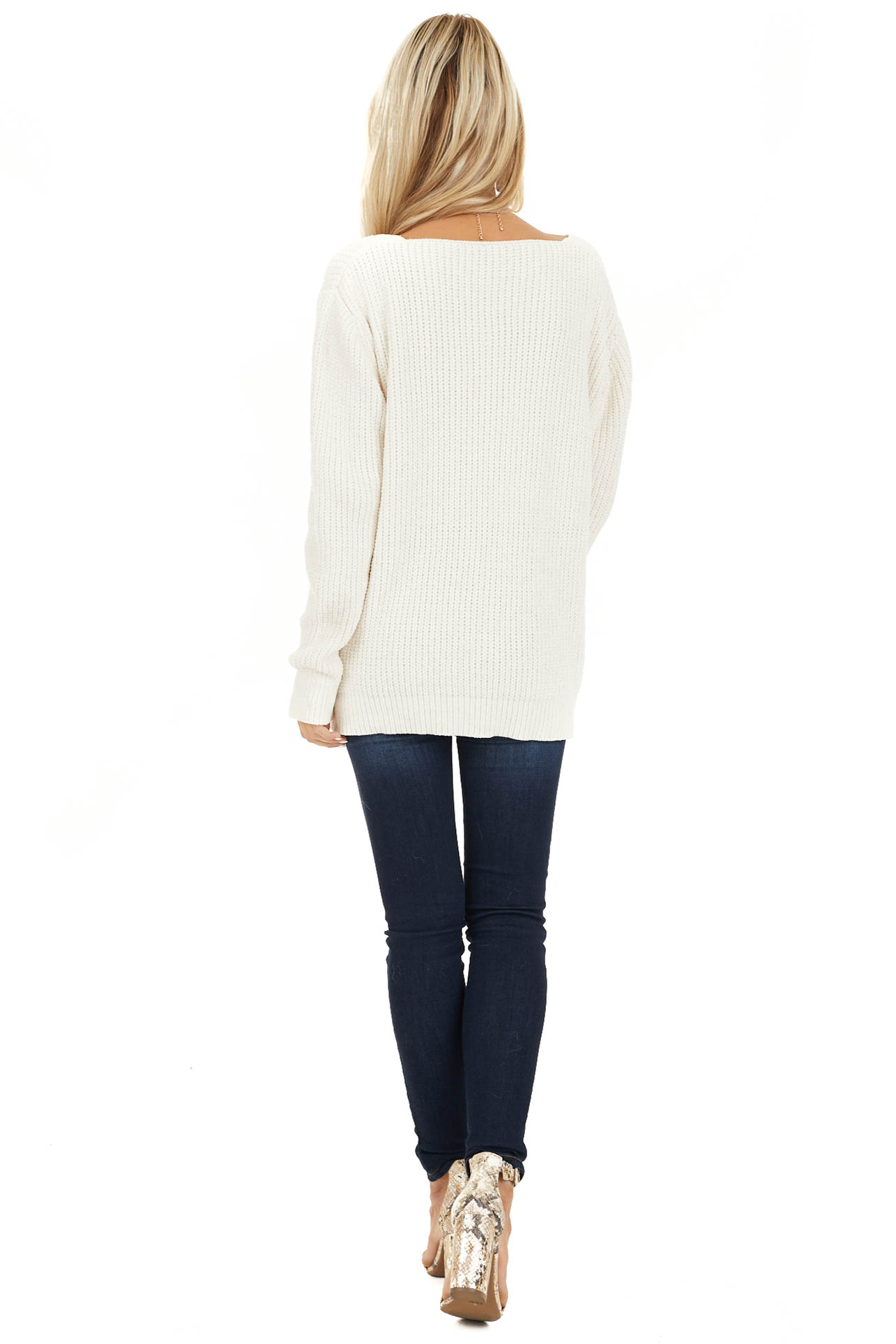 Ivory Chenille Pullover Sweater with Front Twist Detail back full body