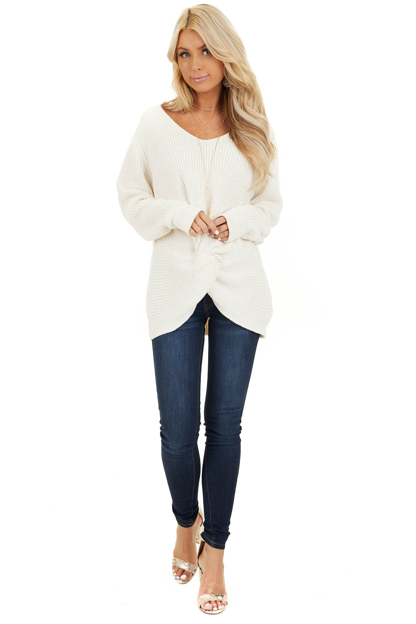 Ivory Chenille Pullover Sweater with Front Twist Detail front full body