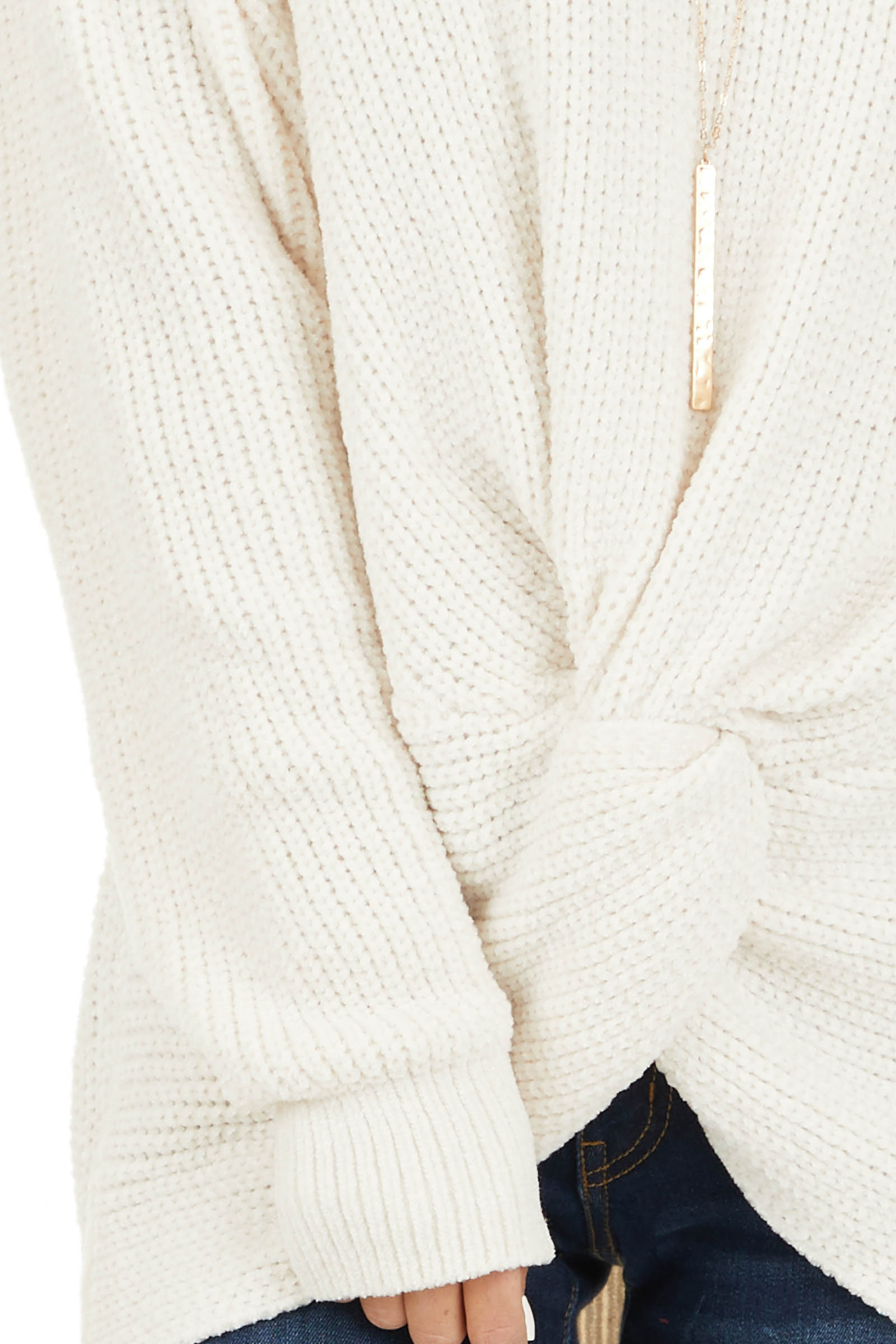 Ivory Chenille Pullover Sweater with Front Twist Detail detail