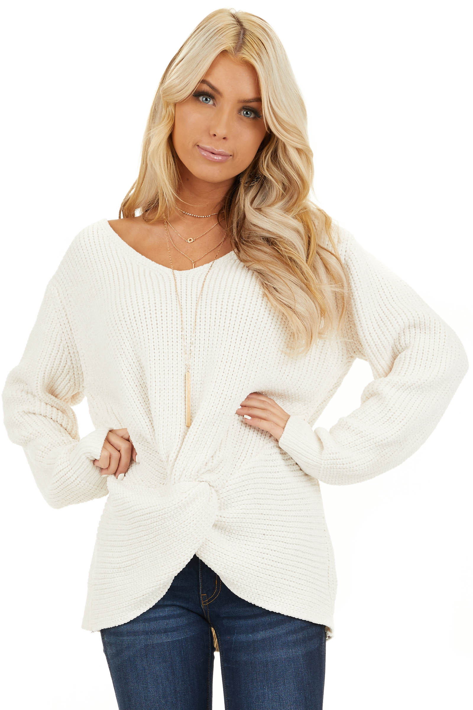 Ivory Chenille Pullover Sweater with Front Twist Detail front close up
