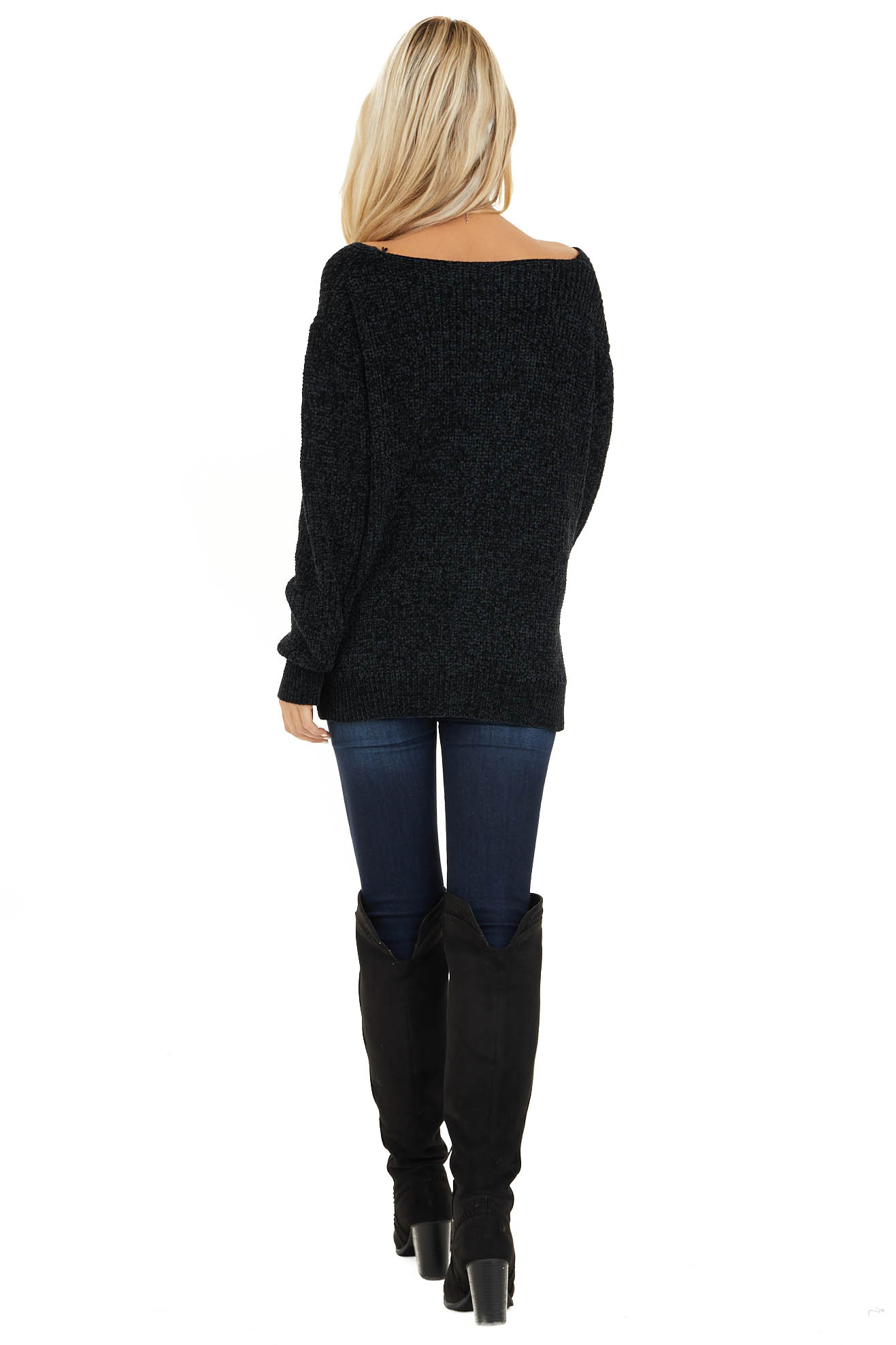 Black Chenille Pullover Sweater with Front Twist Detail back full body
