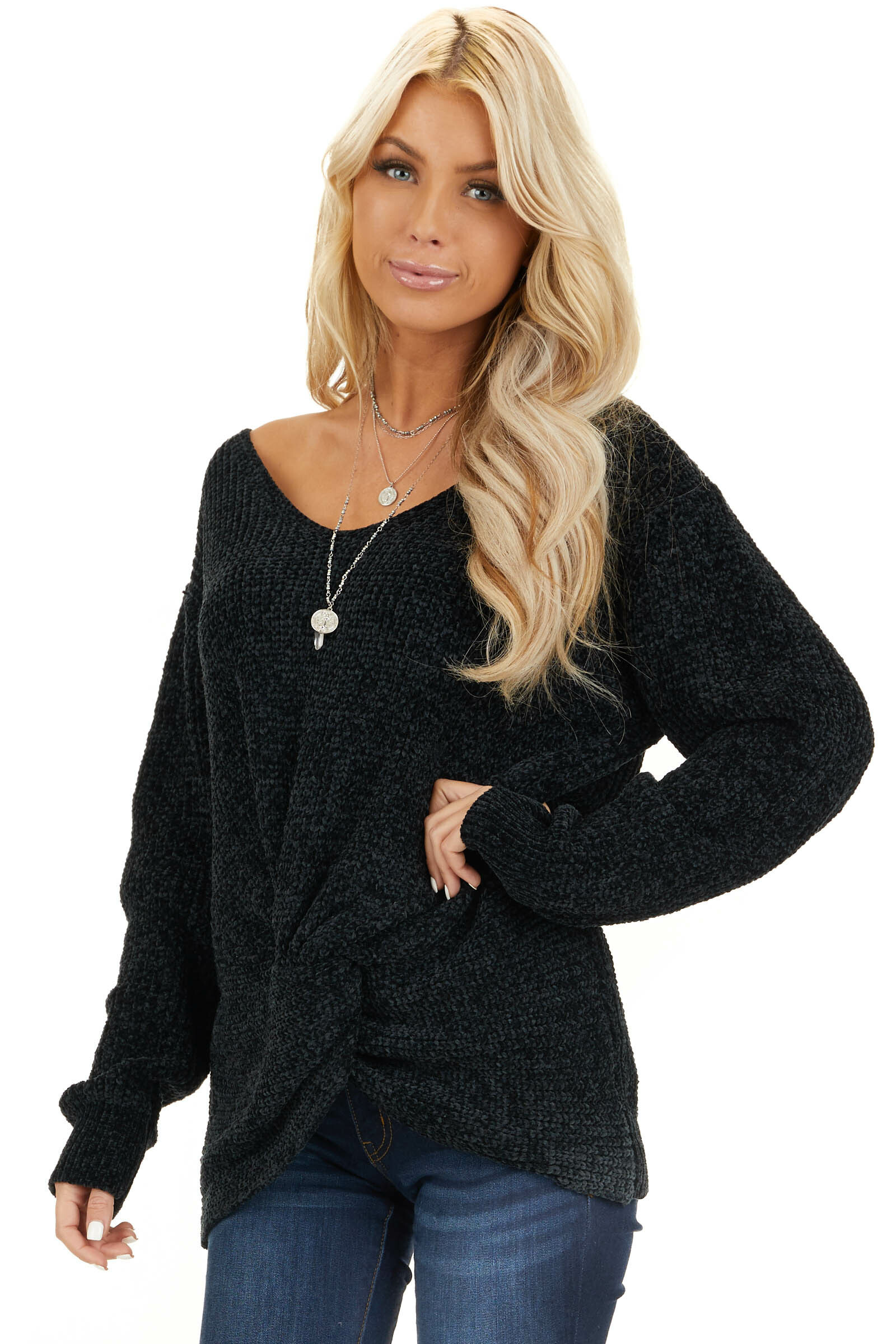 Black Chenille Pullover Sweater with Front Twist Detail front close up