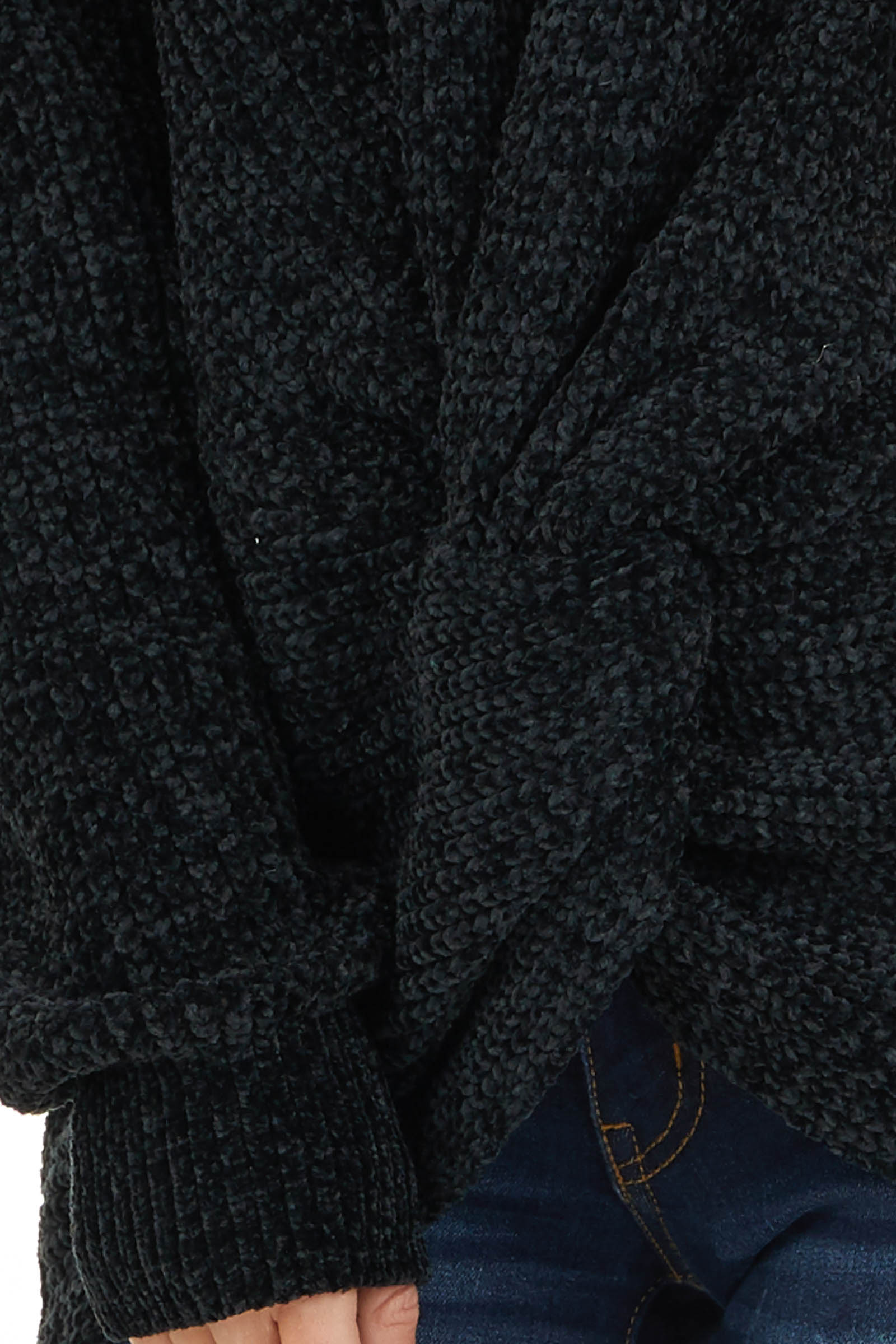 Black Chenille Pullover Sweater with Front Twist Detail detail