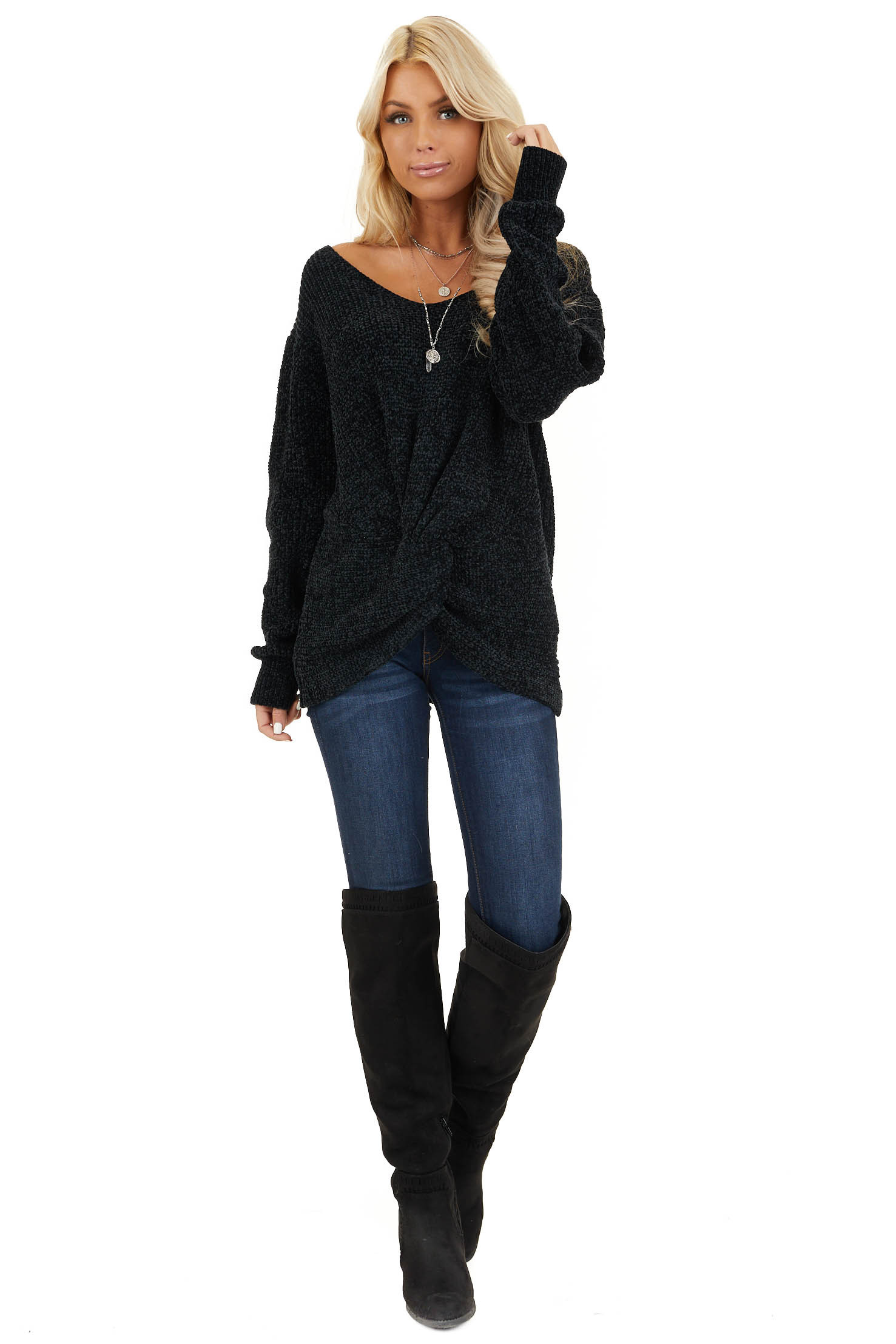 Black Chenille Pullover Sweater with Front Twist Detail front full body