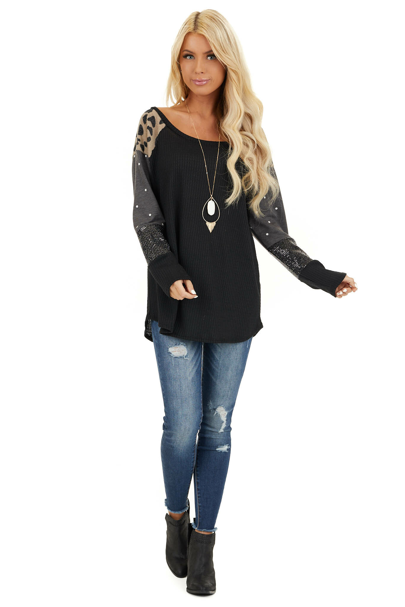 Black Multi Print Long Sleeve Waffle Knit Top front full body