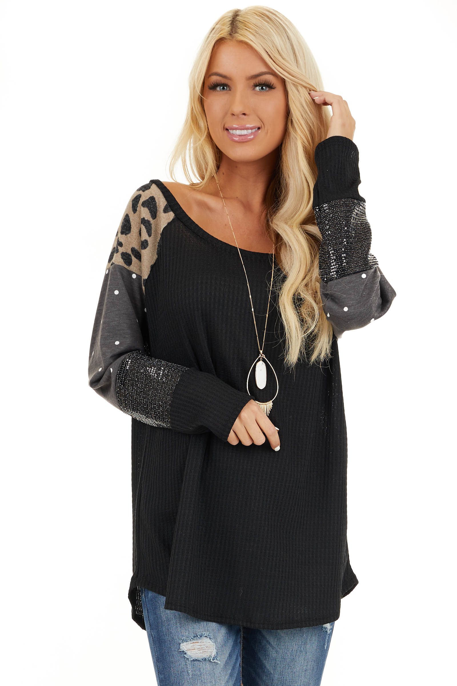 Black Multi Print Long Sleeve Waffle Knit Top front close up