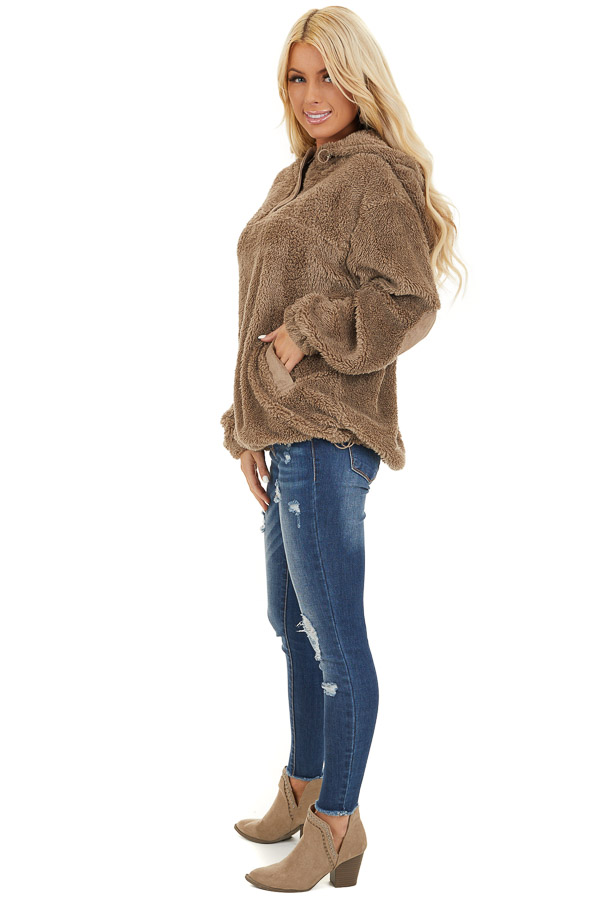 Deep Taupe Faux Fur Pullover Hoodie with Front Pockets side full body