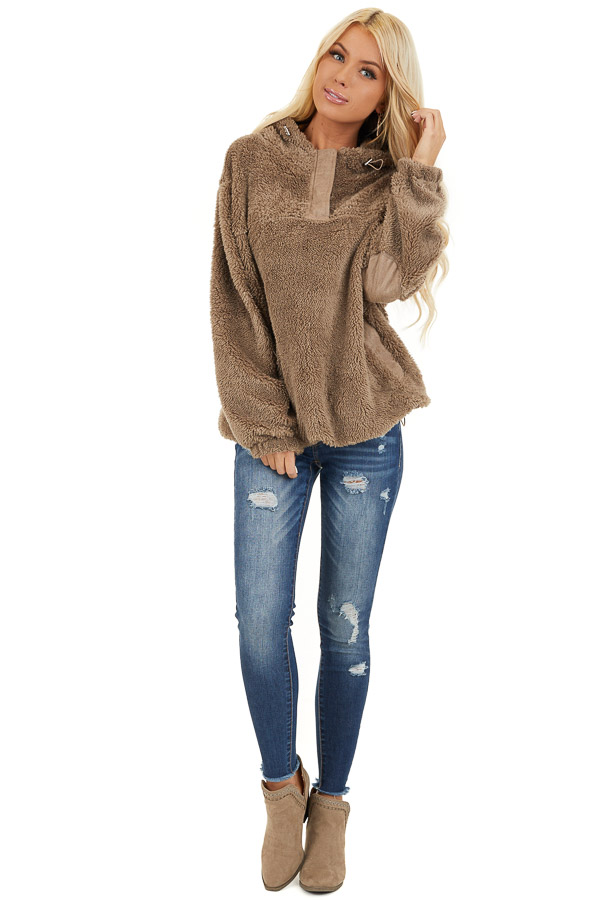 Deep Taupe Faux Fur Pullover Hoodie with Front Pockets front full body