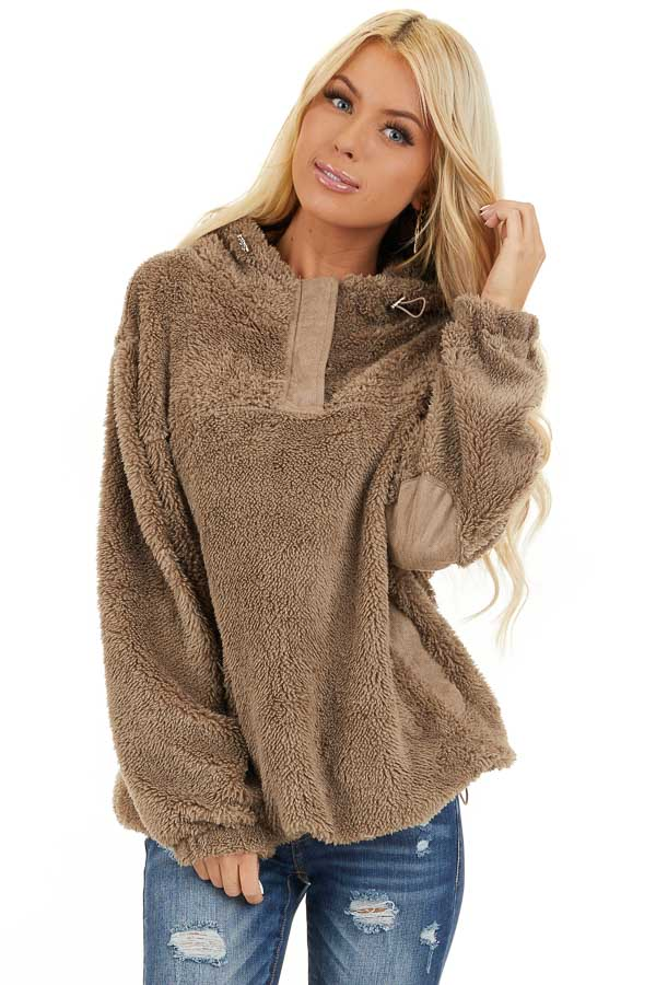 Deep Taupe Faux Fur Pullover Hoodie with Front Pockets front close up
