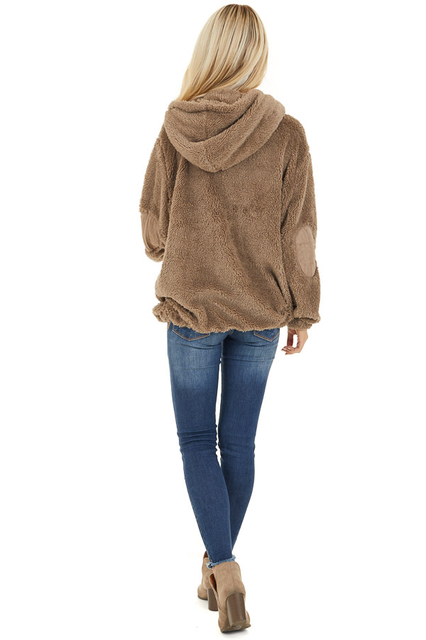 Deep Taupe Faux Fur Pullover Hoodie with Front Pockets back full body
