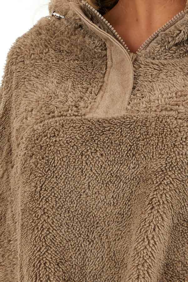 Deep Taupe Faux Fur Pullover Hoodie with Front Pockets detail