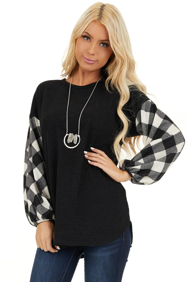 Black Top with Long Off White Buffalo Plaid Sleeves front close up