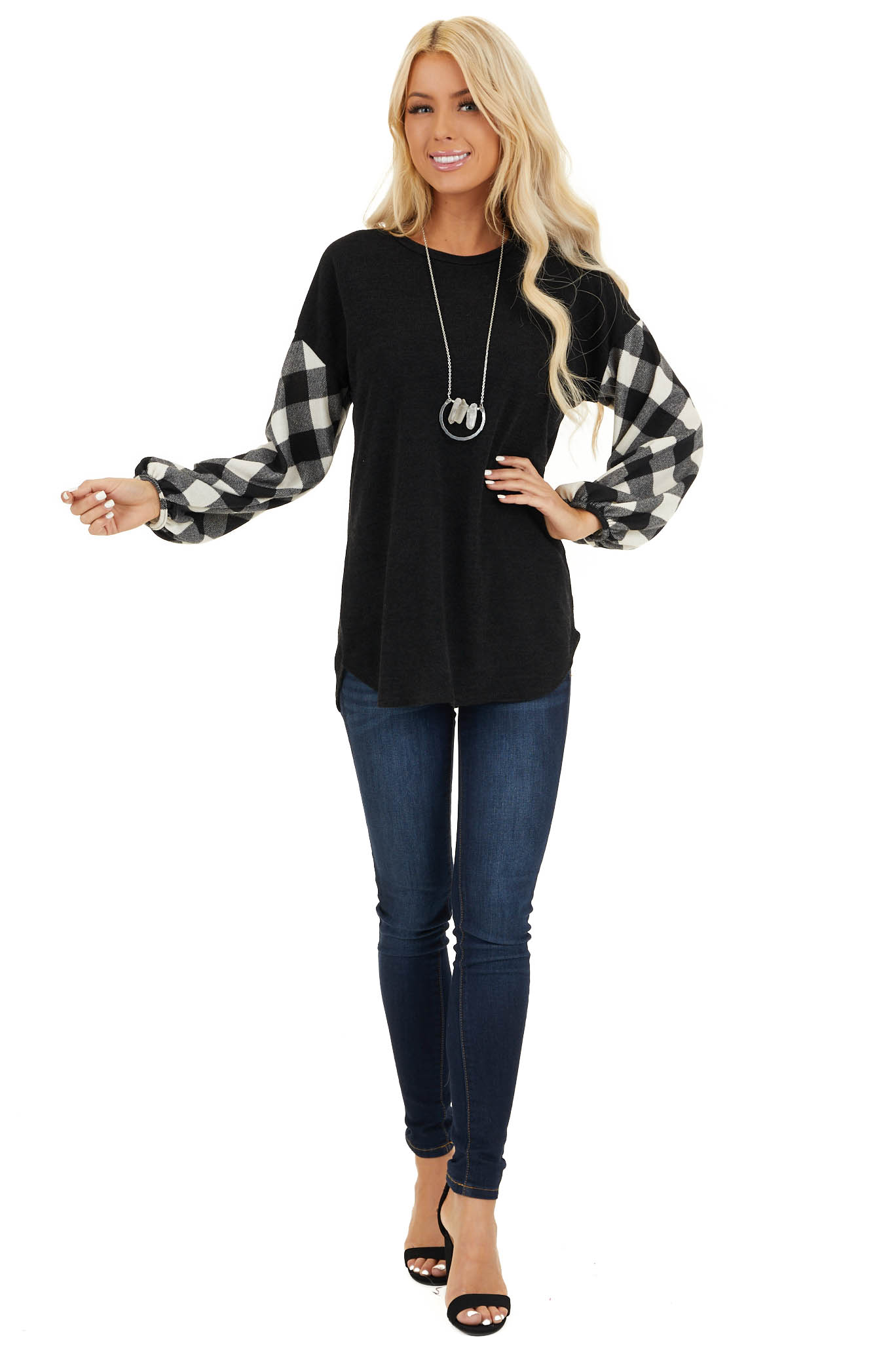 Black Top with Long Off White Buffalo Plaid Sleeves front full body