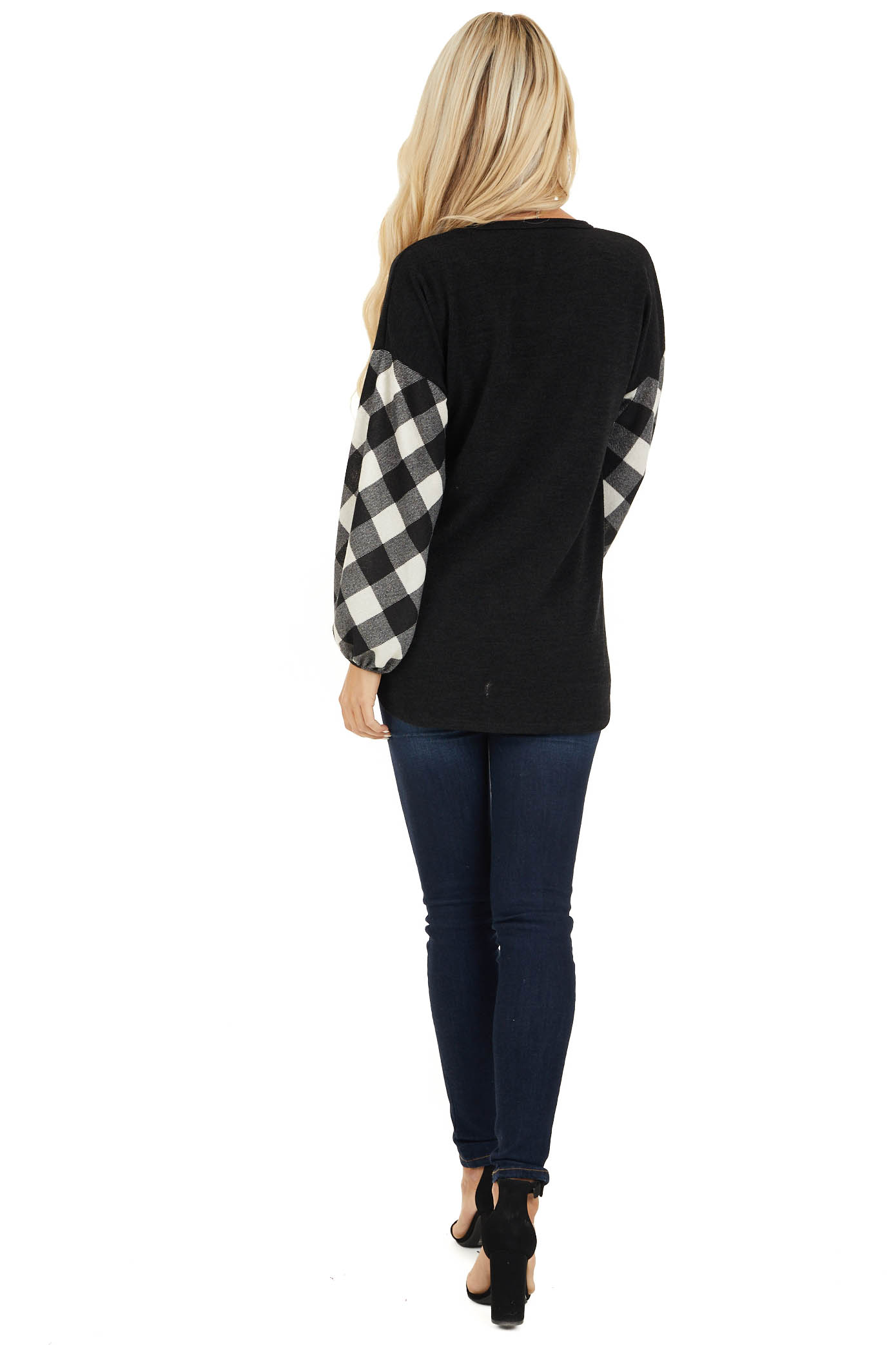 Black Top with Long Off White Buffalo Plaid Sleeves back full body