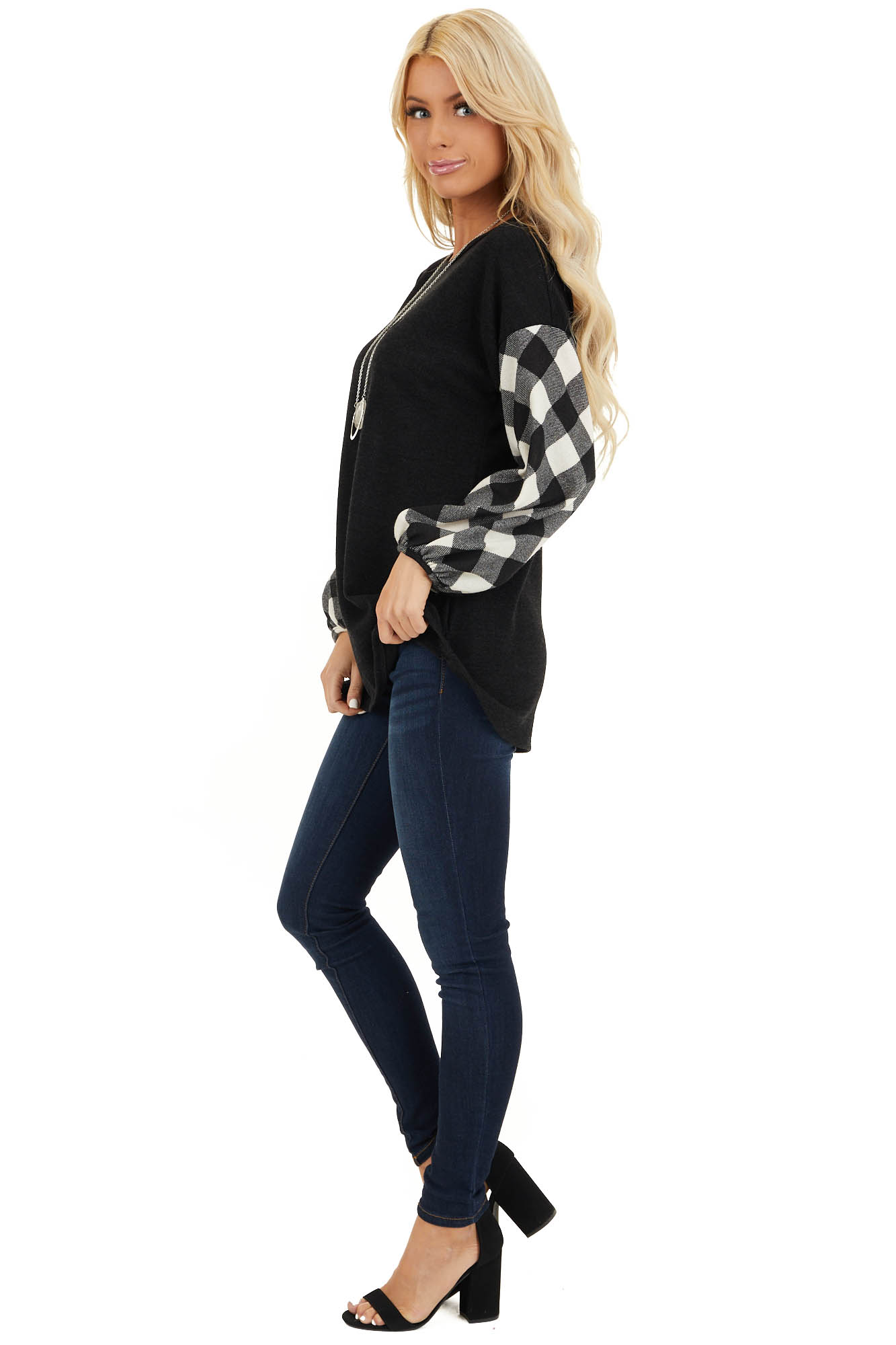 Black Top with Long Off White Buffalo Plaid Sleeves side full body