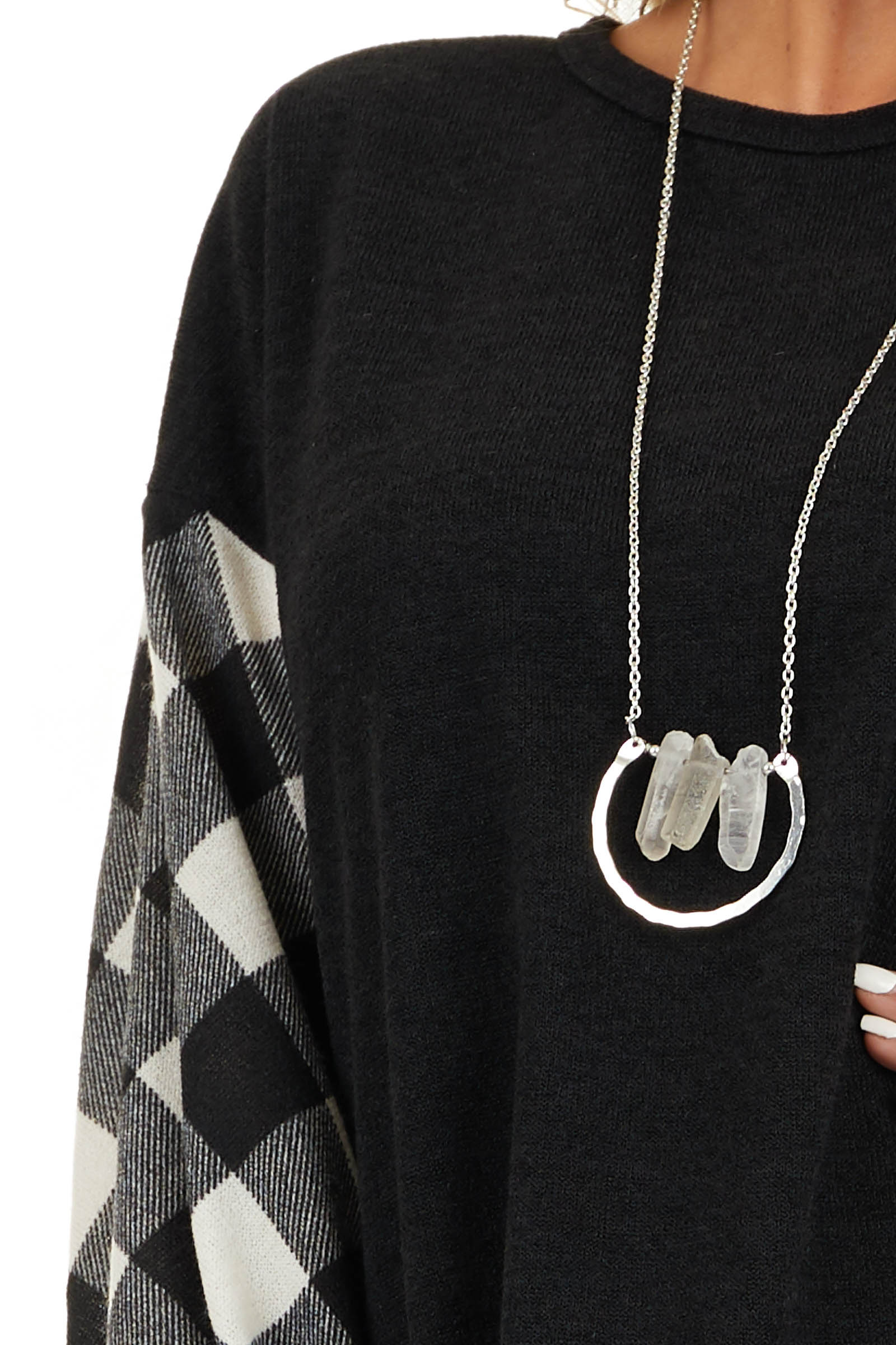Black Top with Long Off White Buffalo Plaid Sleeves detail