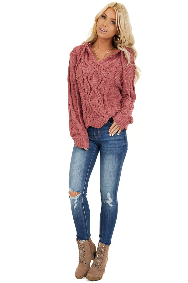 Dark Blush Cable Knit Hooded Sweater with Scalloped Hem front full body