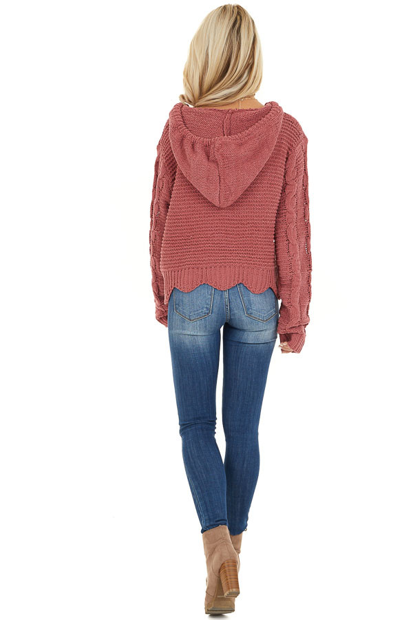 Dark Blush Cable Knit Hooded Sweater with Scalloped Hem back full body