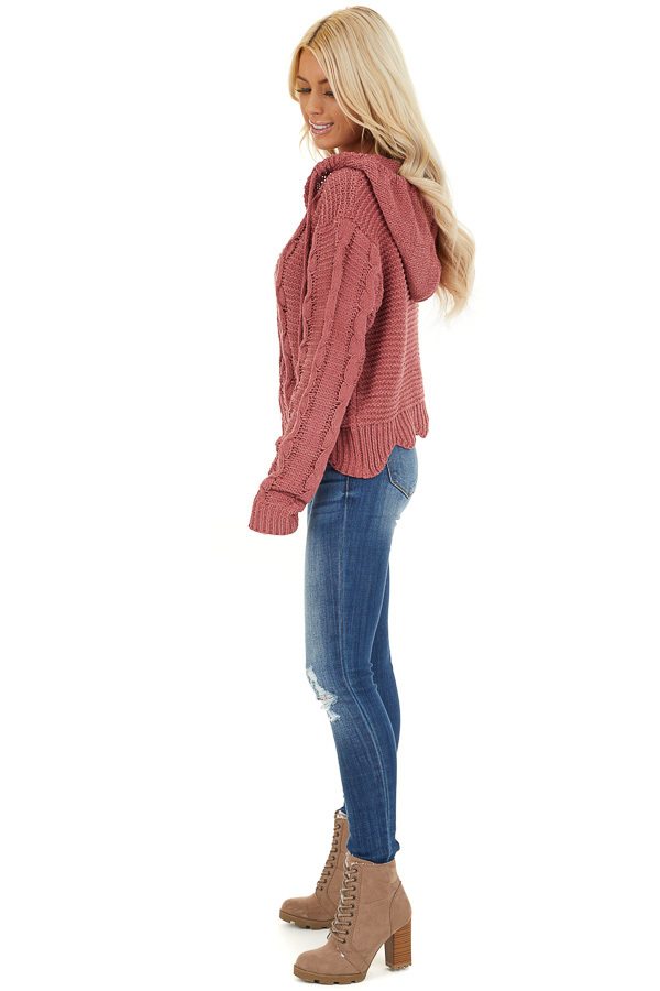 Dark Blush Cable Knit Hooded Sweater with Scalloped Hem side full body